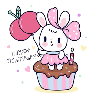 Dessin animé mignon lapin avec gâteau d'anniversaire et ballon cerise