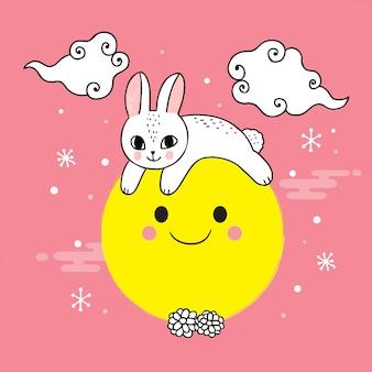 Dessin animé mignon lapin et lune mi automne