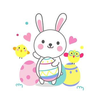 Dessin animé mignon de lapin avec oeufs de pâques et dessin animé de poulet