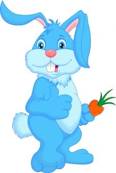 Dessin animé mignon lapin pouce en l'air