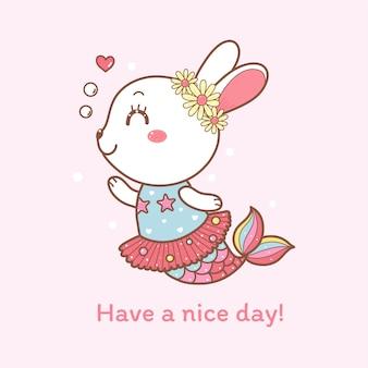 Dessin animé mignon lapin sirène dessiné à la main.