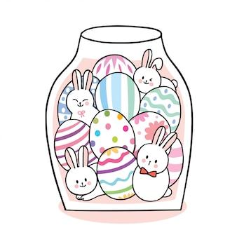 Dessin animé mignon lapins de pâques et oeufs colorés en bouteille.