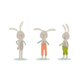 Dessin animé mignon lapins de pâques vecteur isolé illustration sur fond blanc