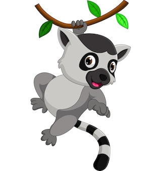 Dessin animé mignon de lémurien