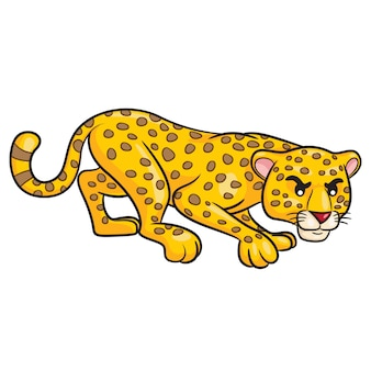 Dessin animé mignon léopard