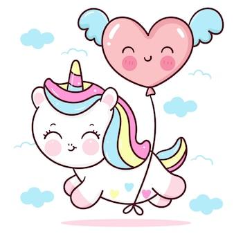 Dessin animé mignon licorne avec ballon coeur voler sur animal kawaii ciel