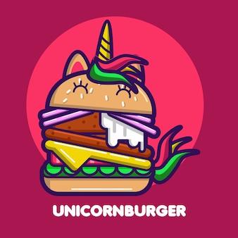 Dessin animé mignon de licorne burger