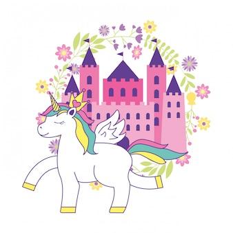 Dessin animé mignon de licorne avec château