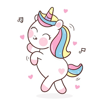 Dessin animé mignon licorne danse animale kawaii dessiné à la main