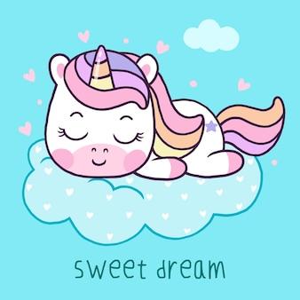 Dessin animé mignon licorne dormant sur nuage isolé sur fond bleu