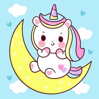 Dessin animé mignon licorne dormir sur un animal kawaii de lune douce