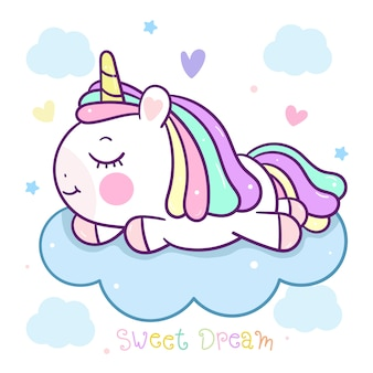 Dessin animé mignon licorne dormir sur nuage