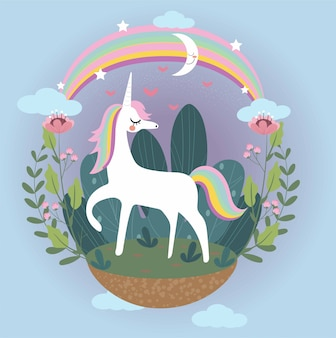 Dessin animé mignon licorne, fleur, arc en ciel et la lune