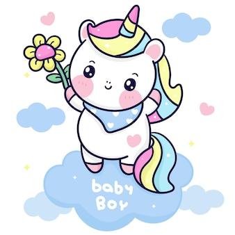 Dessin animé mignon licorne sur nuage tenant animal kawaii fleur