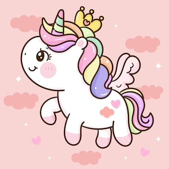 Dessin animé mignon licorne pegasus princesse kawaii animal