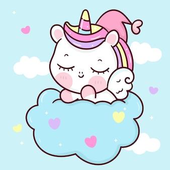 Dessin Animé Mignon Licorne Pegasus Sommeil Sur Nuage Animal Kawaii Vecteur Premium