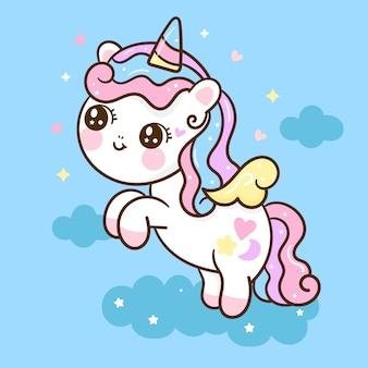 Dessin animé mignon licorne petit poney saute en l'air. illustration dessinée à la main
