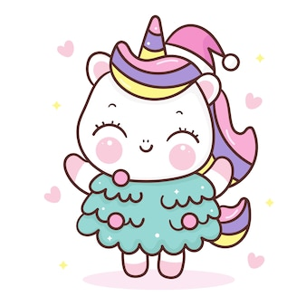 Dessin animé mignon de licorne porter le style kawaii de sapin de noël