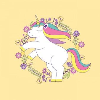 Dessin animé mignon de licorne