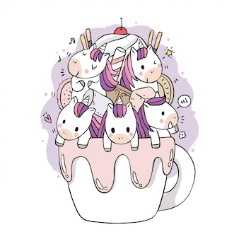 Dessin animé mignon licornes douces et tasse de café