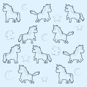Dessin animé mignon licornes modèle fond illustration vectorielle illustration graphique