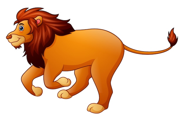 Dessin animé mignon lion en cours d'exécution