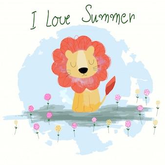 Dessin animé mignon lion d'été