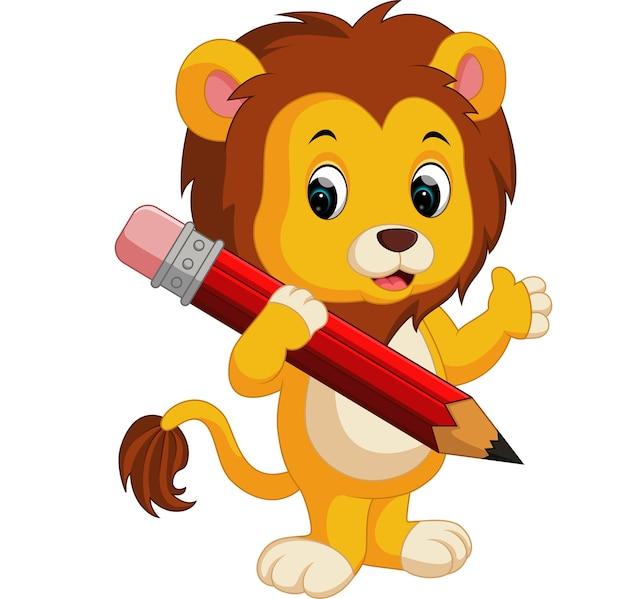 Dessin animé mignon lion tenant un crayon