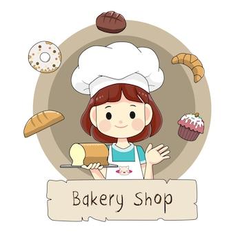 Dessin animé mignon de logo de magasin de boulangerie de fille de chef