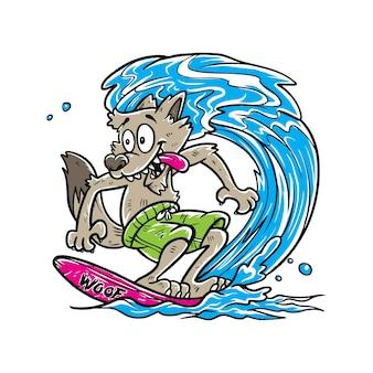 Dessin animé mignon de loup de surf
