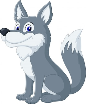 Dessin animé mignon loup