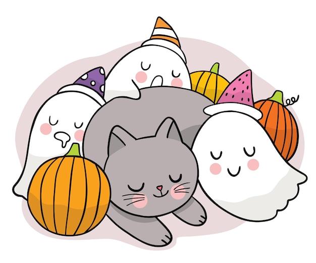 Dessin animé mignon main dessiner chat noir et fantômes dormir et citrouille halloween jour vecteur