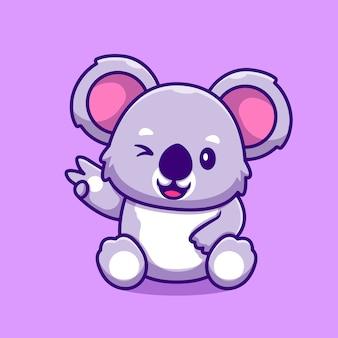 Dessin animé mignon main de paix koala