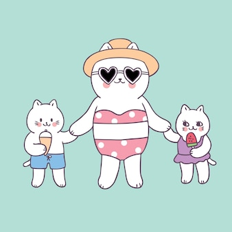 Dessin animé mignon maman d'été et bébés chats