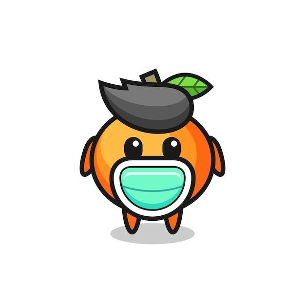 Dessin animé mignon mandarine portant un masque, design de style mignon pour t-shirt, autocollant, élément de logo