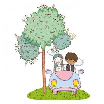 Dessin animé mignon de mariage couple mariage