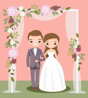 Dessin animé mignon mariée et le marié sur la carte d'invitation de mariage