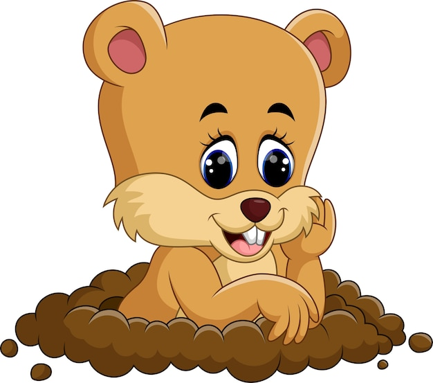Dessin animé mignon de marmotte