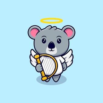 Dessin animé mignon mascotte ange koala