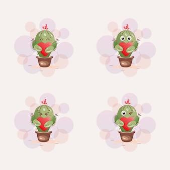 Dessin animé mignon de mascotte de cactus
