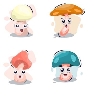 Dessin animé mignon mascotte de champignon