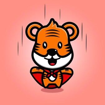 Dessin animé mignon de mascotte de tigre de super-héros