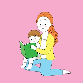 Dessin animé mignon mère et fille, lecture de vecteur de livre.