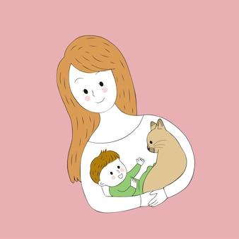 Dessin animé mignon mère porte bébé et vecteur de chat.