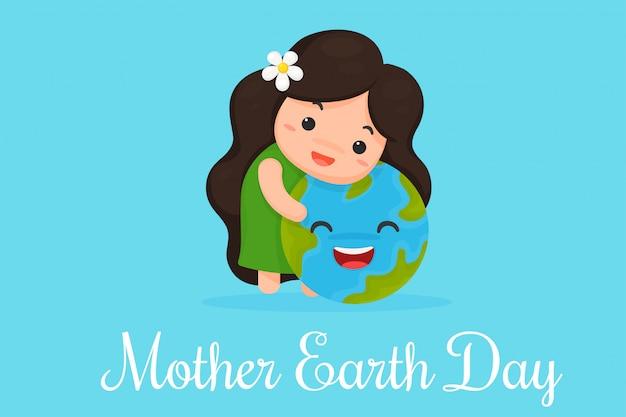 Dessin animé mignon mère terre montre l'amour pour le monde.