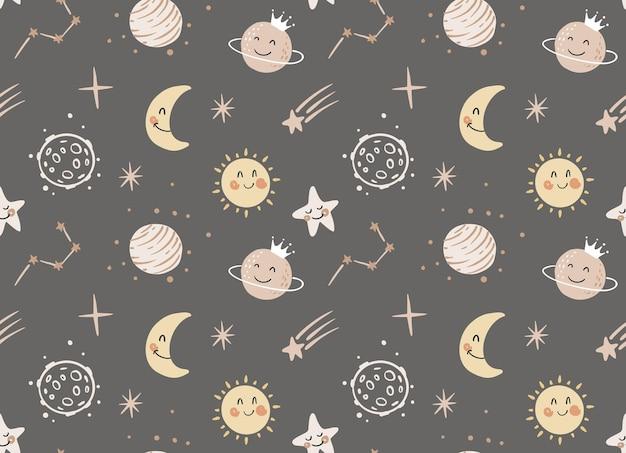 Dessin animé mignon modèle sans couture cosmique planètes soleil étoiles filantes cosmos kids art design
