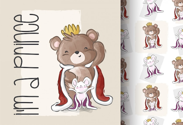 Dessin animé mignon un modèle sans couture de prince ours