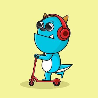 Dessin animé mignon monstre bleu à l'aide d'une illustration de scooter