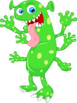 Dessin animé mignon monstre vert