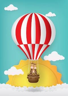 Dessin animé mignon, montgolfière et girafe.